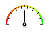 Colored measuring semi-circle scale. For industrial gauges