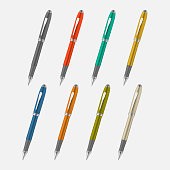 Colored metal pen isolated on gray background, vector mock-up set
