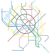 colored metro map of moscow, russia