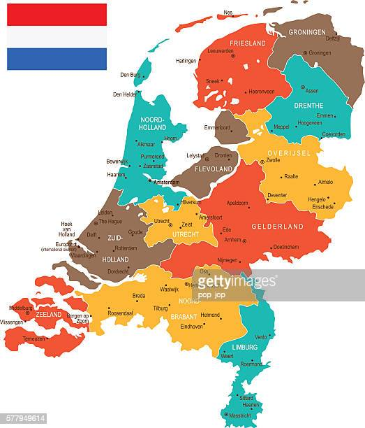 colored netherlands map - north holland stock illustrations