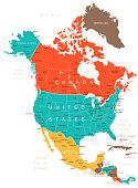 Colored North America Map
