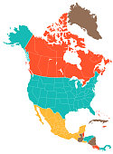 Colored North America Map