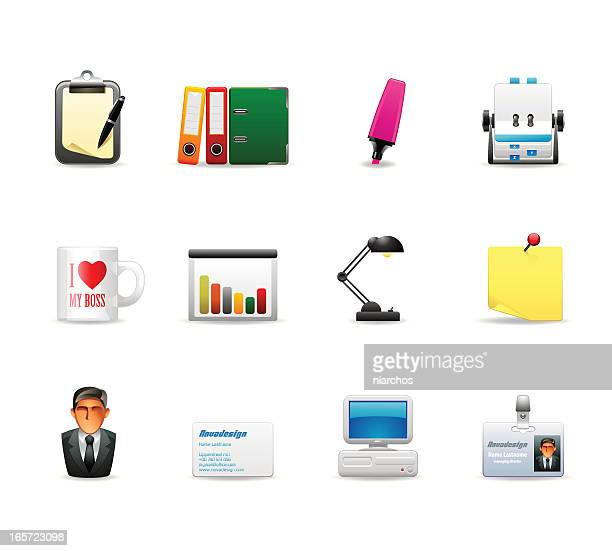 colored office related icons for media and web use - rolodex stock illustrations, clip art, cartoons, & icons