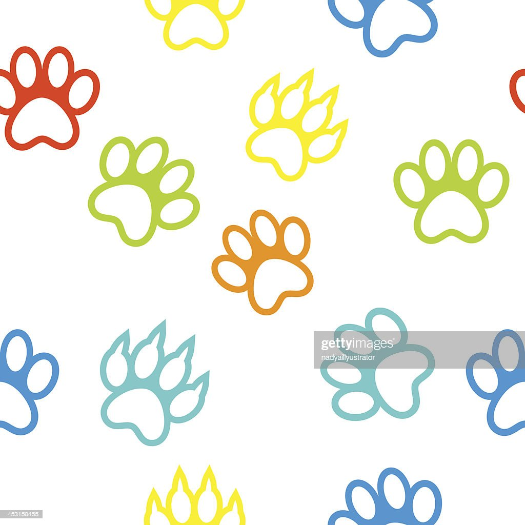colored pattern with paw prints dog  cat