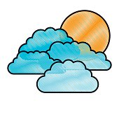 colored pencils silhouette with set of clouds and sun