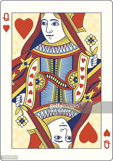 colored queen of hearts playing card - queen royal person stock illustrations, clip art, cartoons, & icons