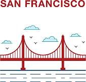Colored San Francisco Golden Gate Bridge.