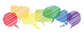 colored scribble speech bubbles in a row