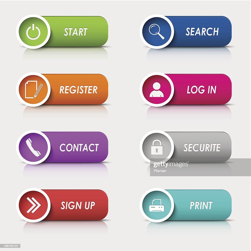 Colored set rectangular web buttons template