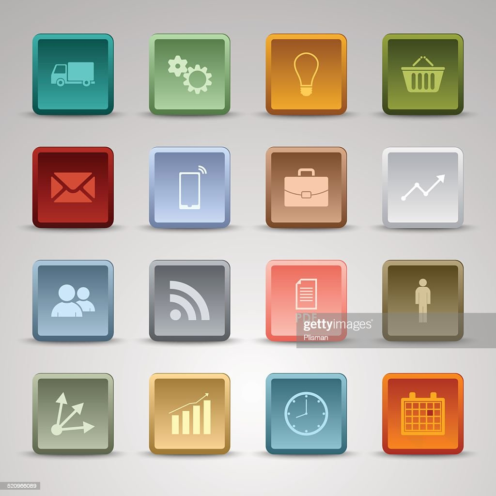Colored set square web buttons icons template