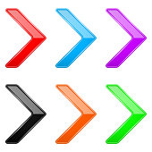 Colored shiny 3d thin arrows. Glass web icons