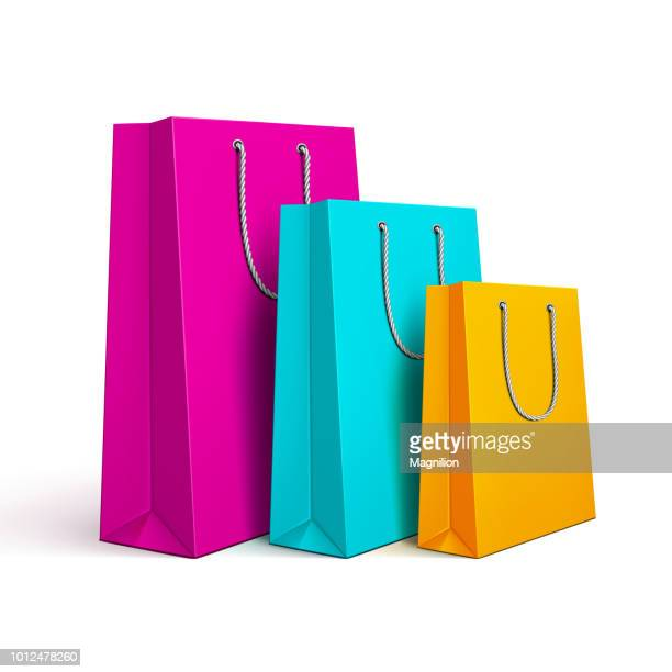 colored shopping bags - shopping stock illustrations