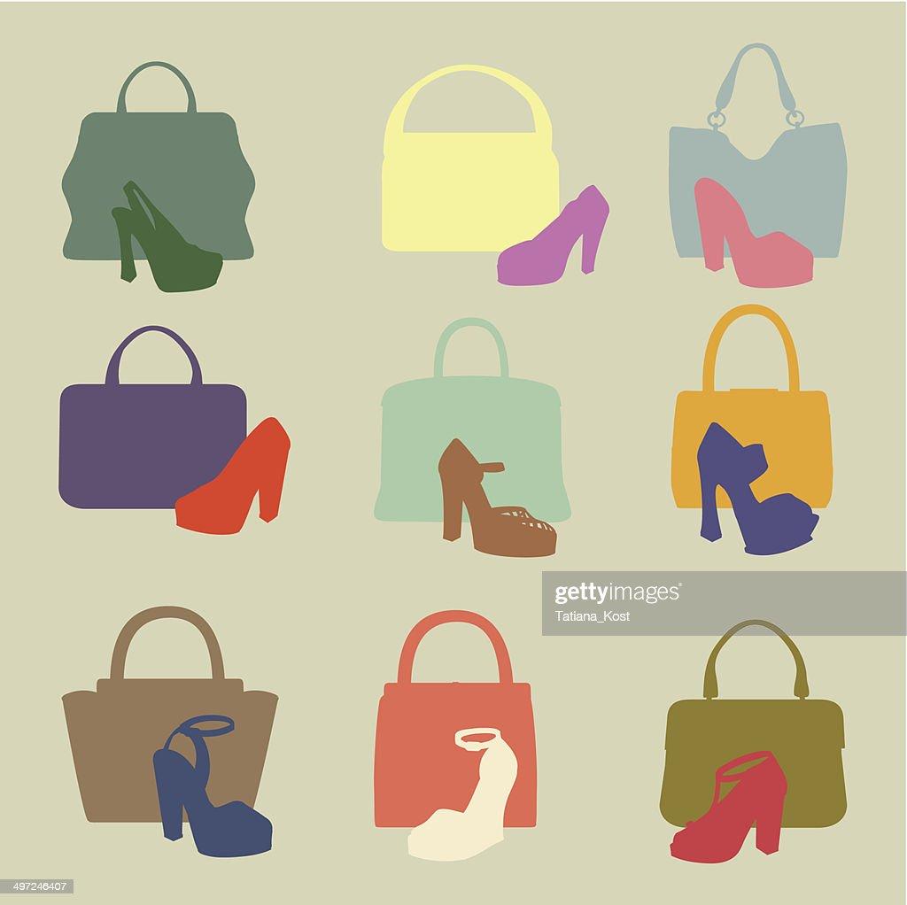 Colored silhouettes of  fashion women's handbag,high-heeled shoe