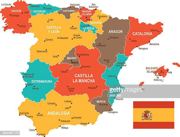colored spain map - oviedo stock illustrations, clip art, cartoons, & icons