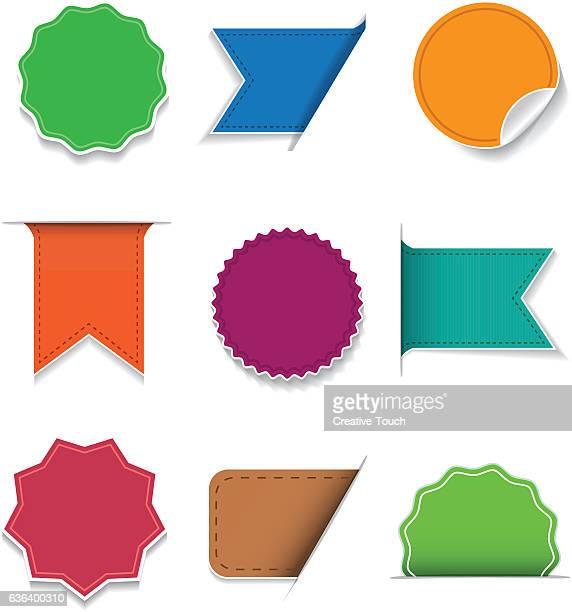 bunte aufkleber, band und seehund-set  - vertikal stock-grafiken, -clipart, -cartoons und -symbole