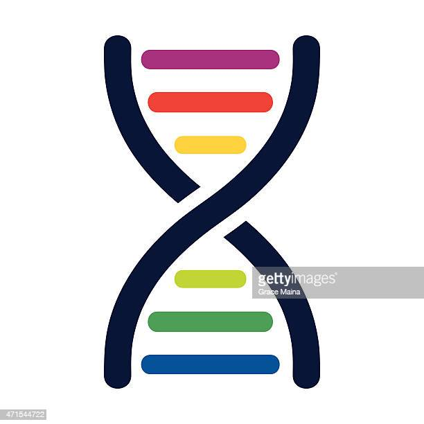 dna colored strands - vector - dna stock illustrations