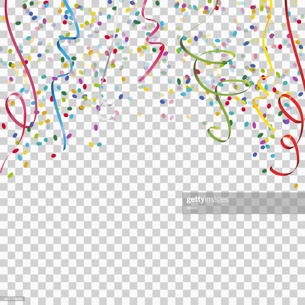 colored streamers and confetti background with vector transparency
