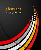 Colored stripes with circles over black background. Retro vector backdrop. Design template. Abstract lines directed upwards.