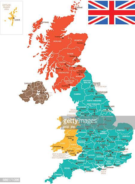 Colored United Kingdom Map