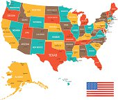 Colored USA Map