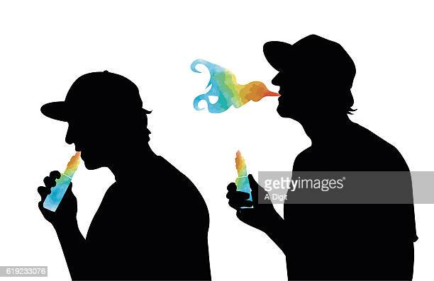 colored vaporizer - electronic cigarette stock illustrations, clip art, cartoons, & icons