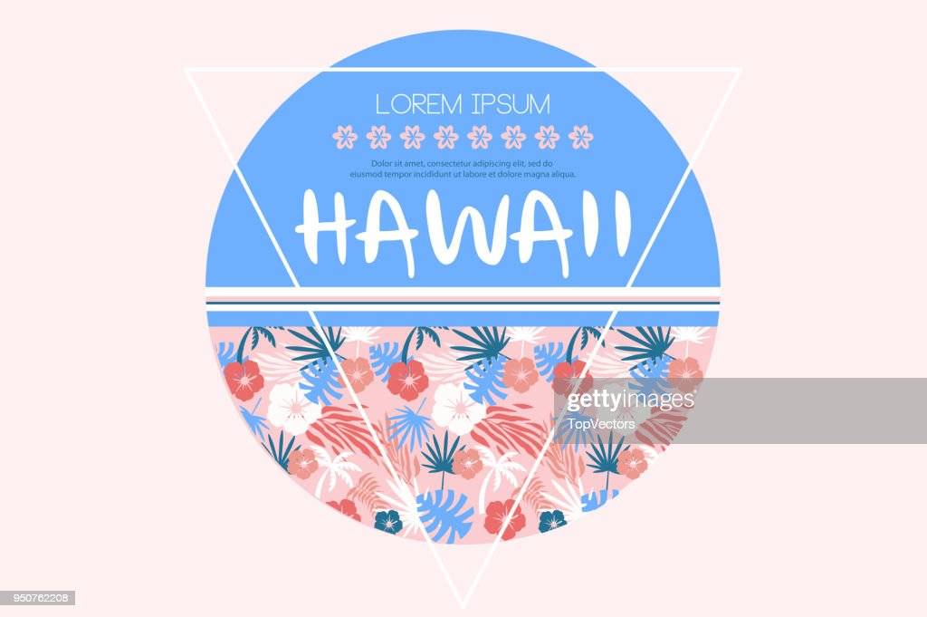 Colored vector illustration related to Hawaii theme. Circle with various tropical plants and place for text. For t-shirt print or promo poster