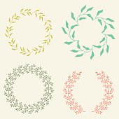 Colored Vector Laurel Wreaths