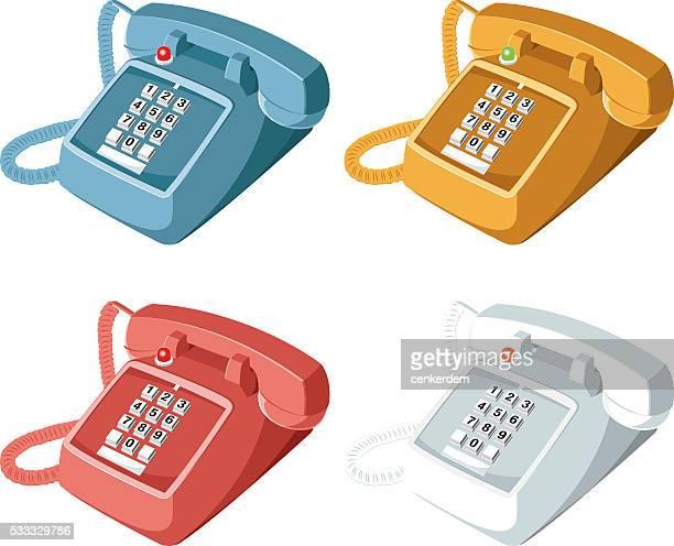 Farbige vintage-Telefone