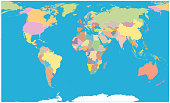 Colored World Map Blank