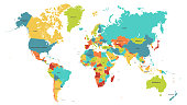 Colored world map. Political maps, colorful world countries and country names vector illustration