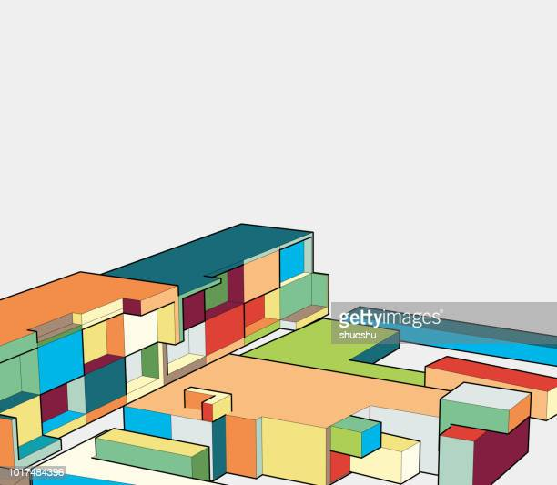 colorful 3d architecture model - model to scale stock illustrations, clip art, cartoons, & icons