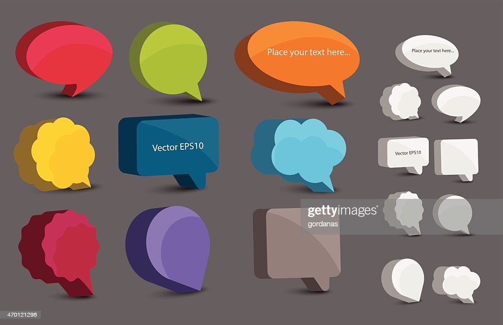 Colorful 3d bubble speech set.