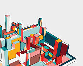 colorful 3D building model