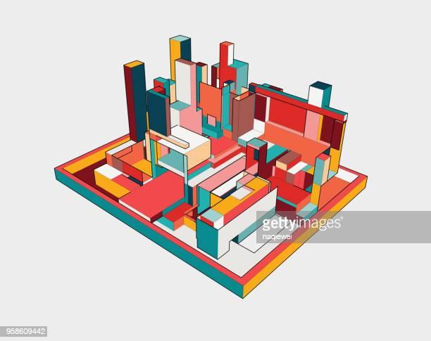 illustrations, cliparts, dessins animés et icônes de modèle de bâtiment 3d coloré - ville futuriste