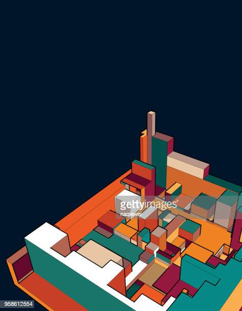 colorful 3d building model - model to scale stock illustrations, clip art, cartoons, & icons
