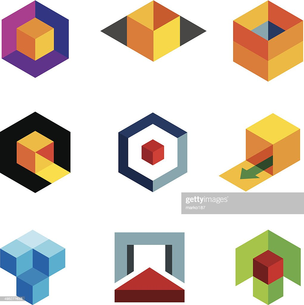 Colorful 3D cube icons
