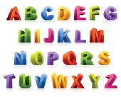 Colorful 3D font from different angles
