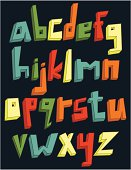 Colorful 3d lower case alphabet