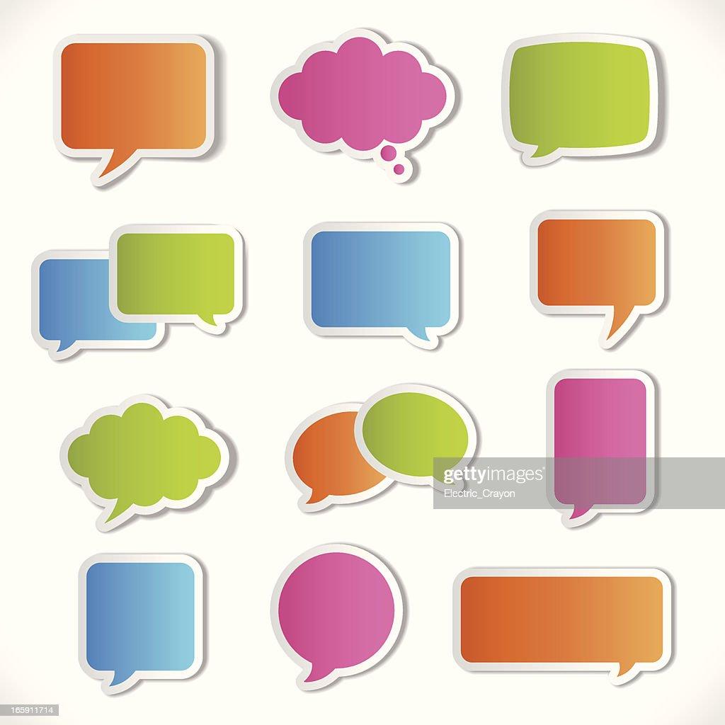 Colorful 3-D speech bubble icon set