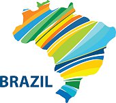 Colorful abstract Brazil map vector