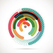 Colorful abstract circle and dot design pattern