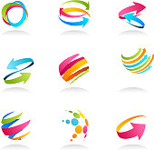 Colorful abstract design elements and icons
