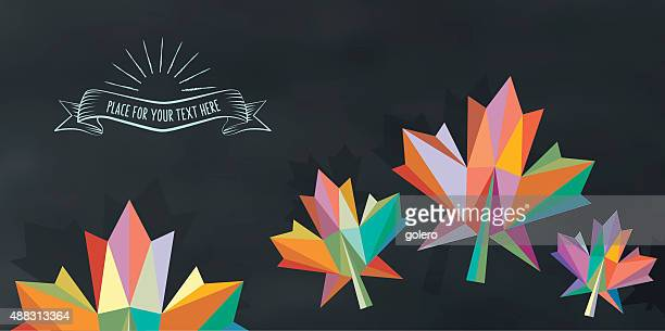 colorful abstract fall leaf on chalkboard with vintage sign - maple leaf stock illustrations
