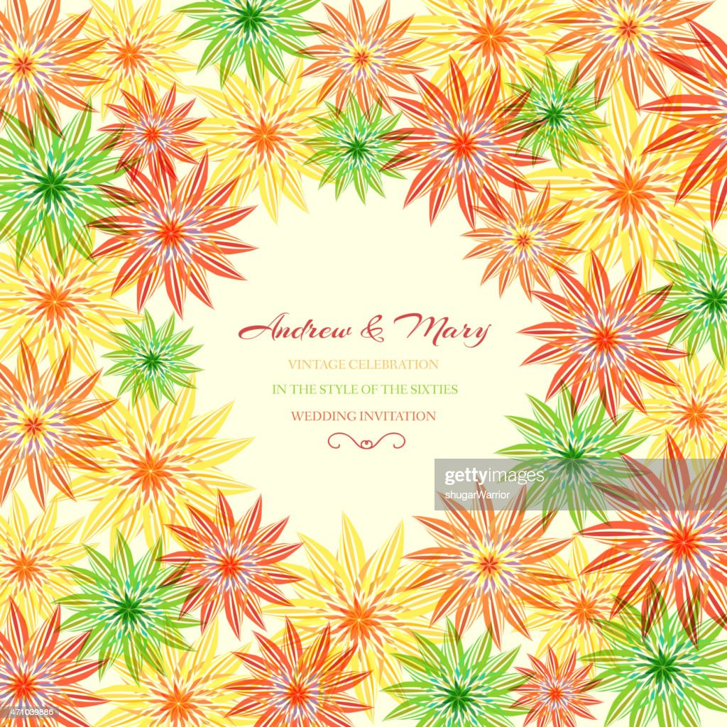 Colorful abstract floral with leaves and flowers. Spring or summer