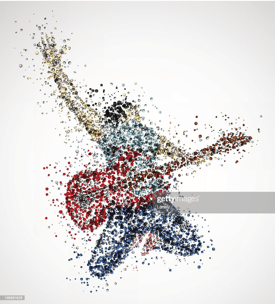 Colorful abstract guitarist depiction