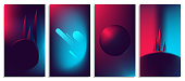 Colorful abstract light neon blurred gradients, retro 80's futuristic background
