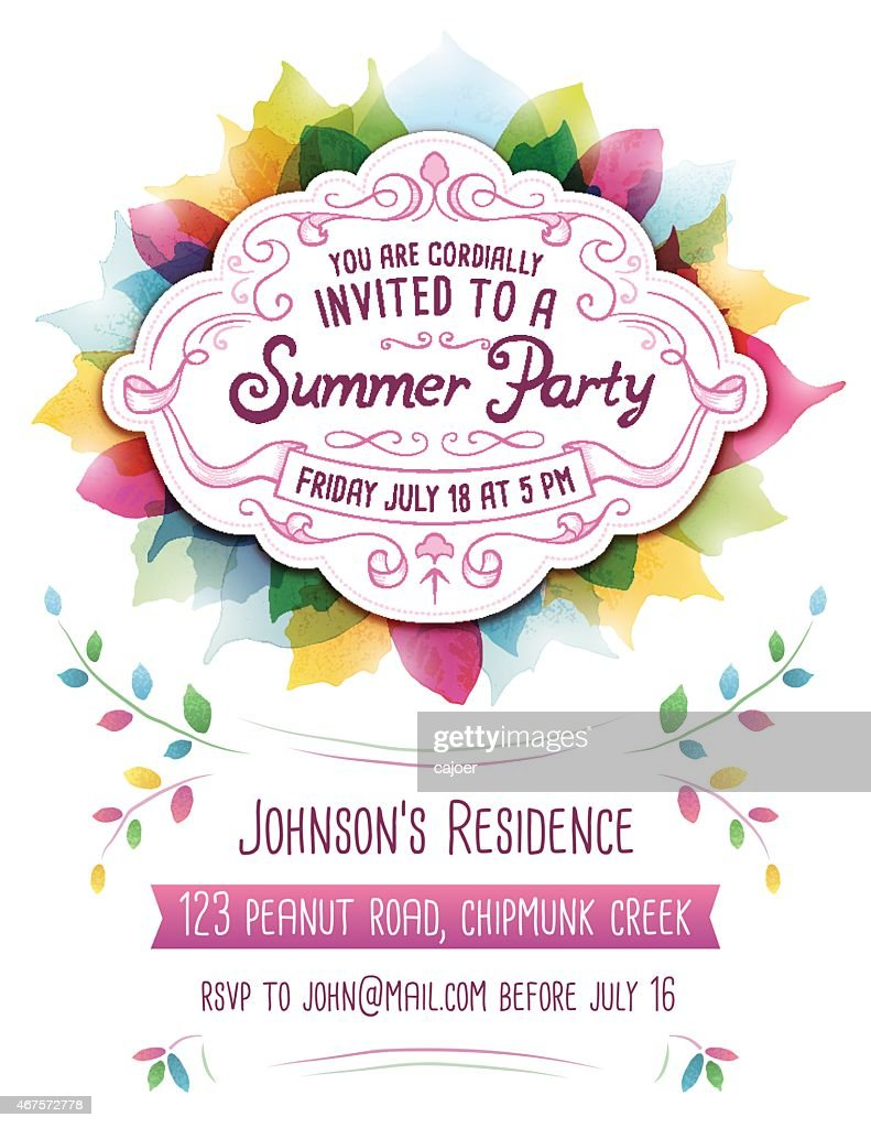 Colorful abstract template for a Summer Party invitation