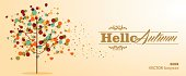 Colorful abstract tree composition, Hello Autumn text. Fall concept illustration.