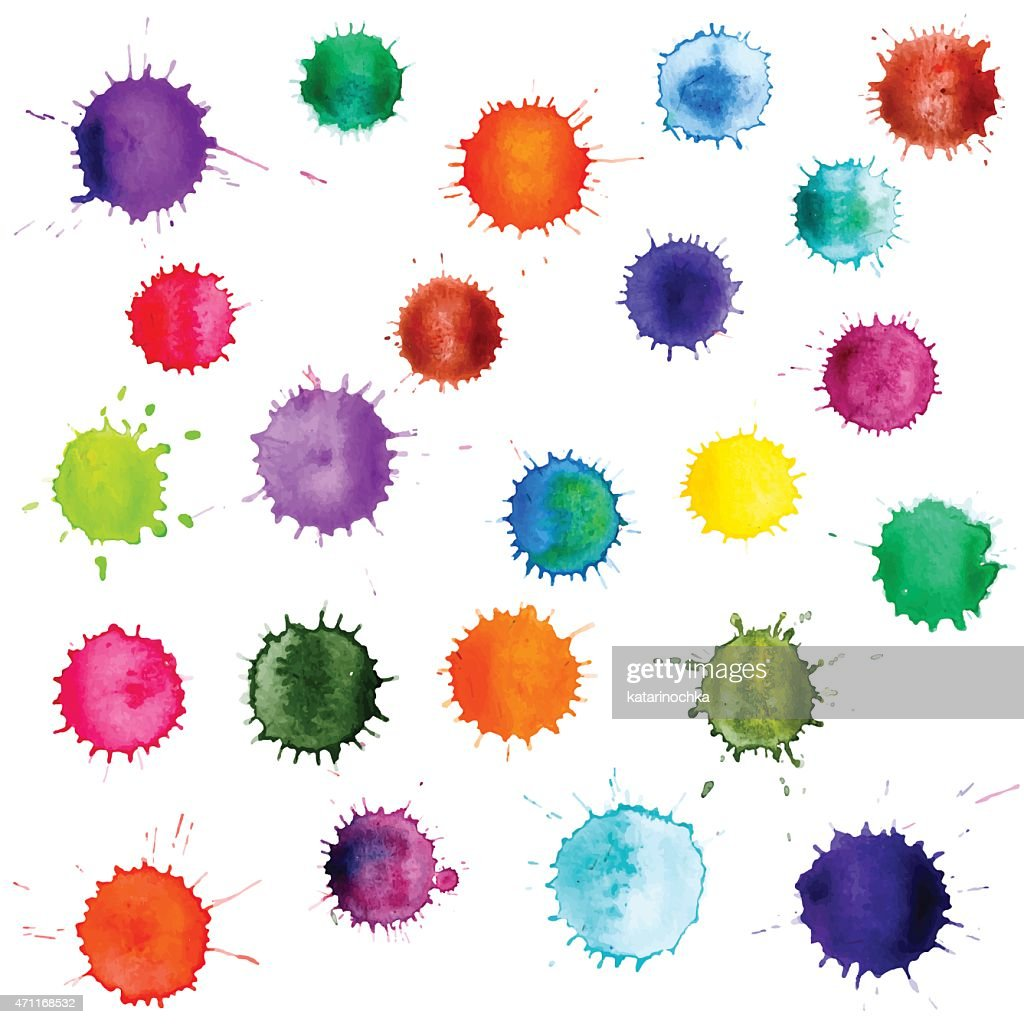 Colorful abstract vector ink paint splats. Set of watercolor blobs