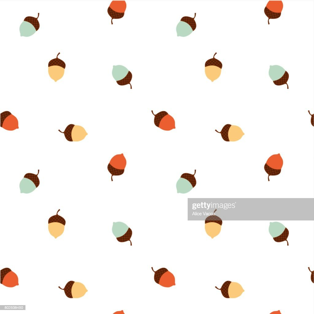 colorful acorn seamless vector pattern background illustration